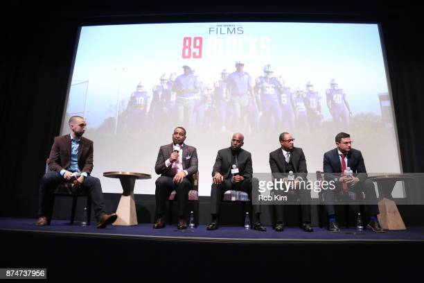Nick Wright Cris Carter Darren Sunkett Jason Hicks and Josh Oshinsky attend 'Magnify' Documentary Series Screening at The Whitby Screening Room on...