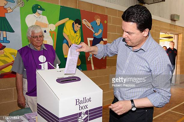 Nick Xenophon Independent senator for SA casts his vote in the electorate of Sturt on election day on September 7 2013 in Adelaide Australia Voters...