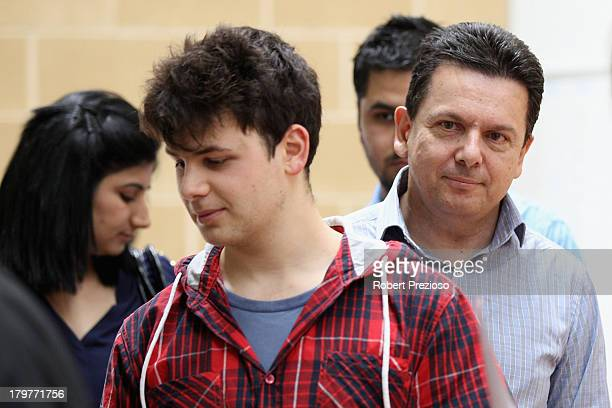 Nick Xenophon Independent senator for SA waits in line to cast his vote in the electorate of Sturt on election day on September 7 2013 in Adelaide...