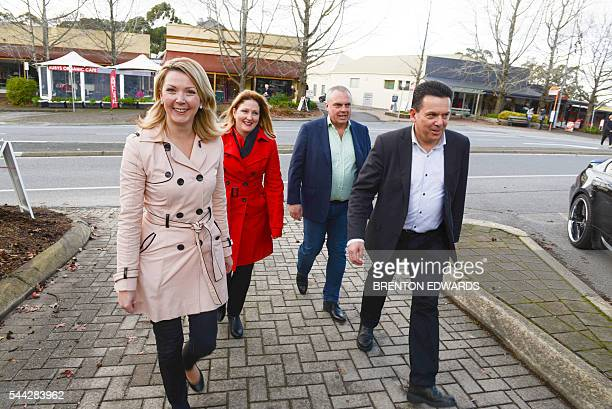 Nick Xenophon leader of the Nick Xenophon Team political party and his team candidates Rebekha Sharkie Skye KakoschkeMoore and Stirling Griff arrive...
