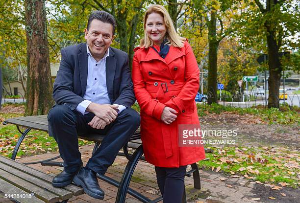 Nick Xenophon leader of the Nick Xenophon Team political party and team candidate Rebekha Sharkie pose for photographs in the Adelaide Hills town of...