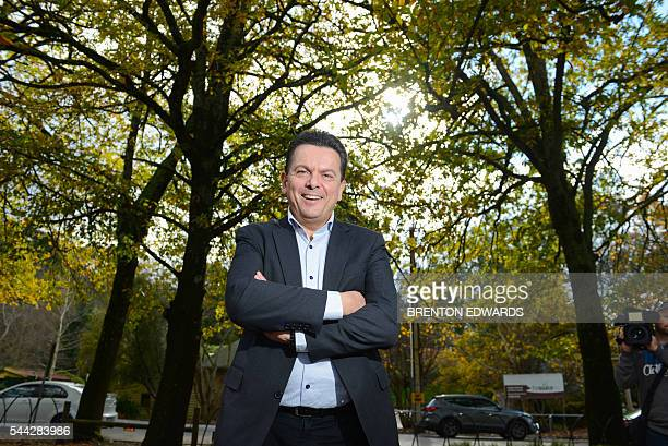 Nick Xenophon leader of the Nick Xenophon Team political party poses for photographs in the Adelaide Hills town of Stirling on July 3 2016 Australia...