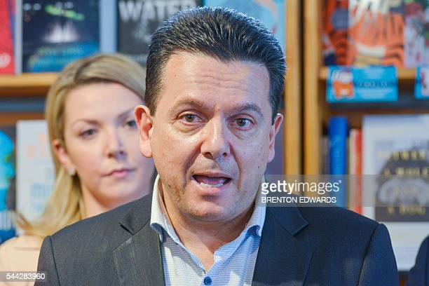 Nick Xenophon leader of the Nick Xenophon Team political party speaks to the press in the Adelaide Hills town of Stirling on July 3 2016 Australia...