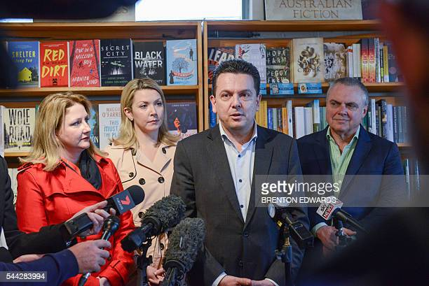 Nick Xenophon leader of the Nick Xenophon Team political party speaks to the press in front of his team candidates Rebekha Sharkie Skye...