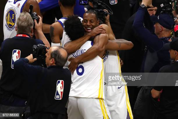 Nick Young and Andre Iguodala of the Golden State Warriors of the Golden State Warriors celebrates after defeating the Cleveland Cavaliers during...
