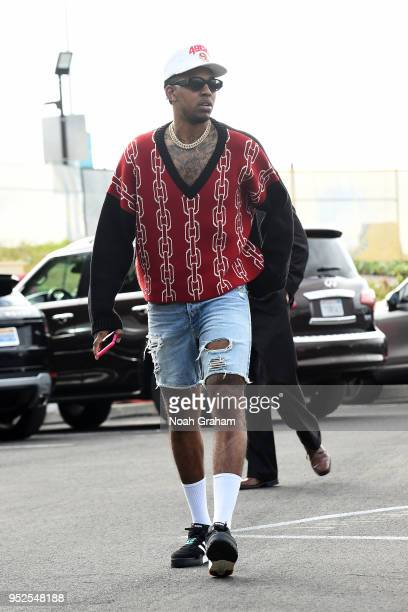 Nick Young of the Golden State Warriors arrives before the game against the New Orleans Pelicans in Game One of Round Two of the 2018 NBA Playoffs on...