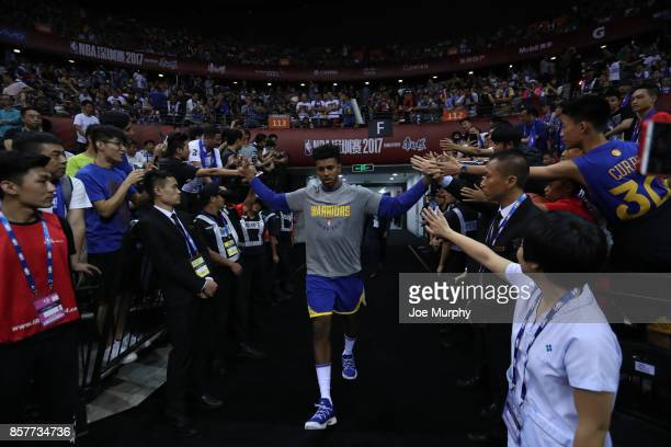 Nick Young of the Golden State Warriors comes through the tunnel after halftime against the Minnesota Timberwolves as part of the 2017 Global Games...