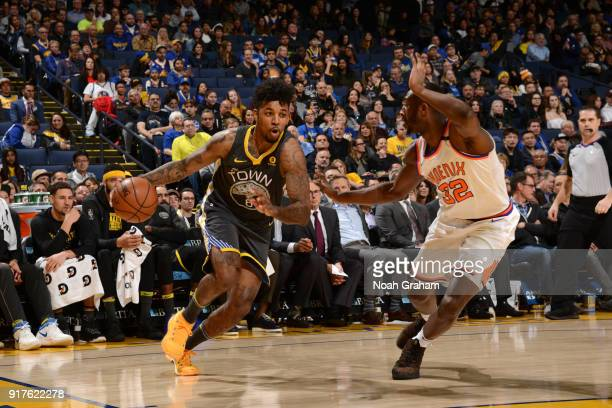 Nick Young of the Golden State Warriors drives to the basket against the Phoenix Suns on February 12 2018 at ORACLE Arena in Oakland California NOTE...