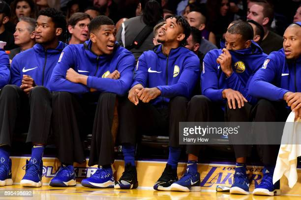Nick Young of the Golden State Warriors on the bench against the Los Angeles Lakers at Staples Center on December 18 2017 in Los Angeles California...
