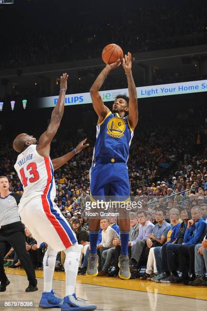 Nick Young of the Golden State Warriors shoots the ball against the Detroit Pistons on October 29 2017 at ORACLE Arena in Oakland California NOTE TO...