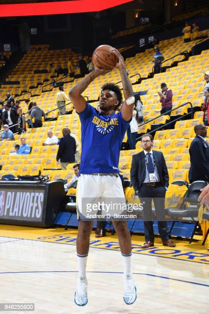 Nick Young of the Golden State Warriors shoots the ball before the game against the San Antonio Spurs in Game One of Round One during the 2018 NBA...