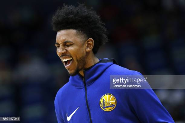 Nick Young of the Golden State Warriors warms up before a game against the New Orleans Pelicans at the Smoothie King Center on December 4 2017 in New...