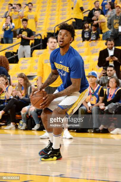 Nick Young of the Golden State Warriors warms up before the game against the Houston Rockets during Game Six of the Western Conference Finals during...