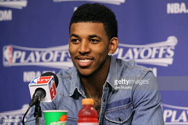 Nick Young of the Los Angeles Clippers speaks to the media after the Los Angeles Clippers defeated the Memphis Grizzlies in Game Seven of the Western...
