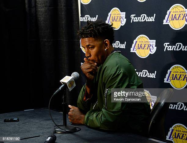 Nick Young of the Los Angeles Lakers attends a news conference to the discuss the controversy with teammate D'Angelo Russell before the start of the...