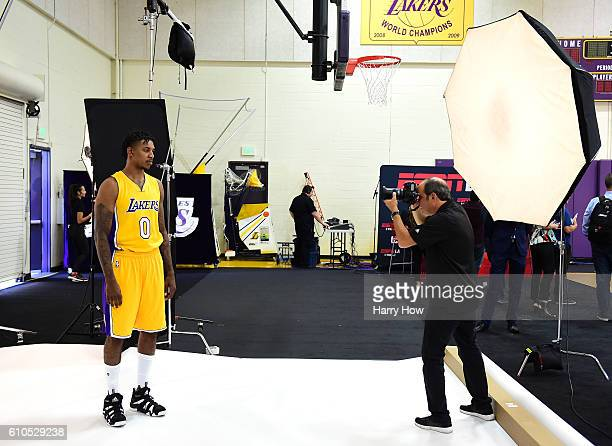 Nick Young of the Los Angeles Lakers poses for a photo for team photographer Andrew D. Bernstein during Los Angeles Laker media day at Toyota Sports...