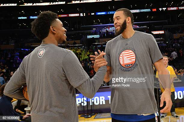 Nick Young of the Los Angeles Lakers shakes hands with JaVale McGee of the Golden State Warriors before the game on November 4 2016 at STAPLES Center...