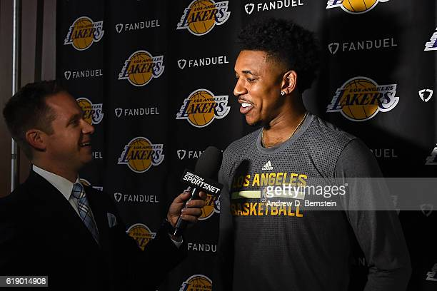 Nick Young of the Los Angeles Lakers talks to the media before the game against the Houston Rockets on October 26 2016 at STAPLES Center in Los...