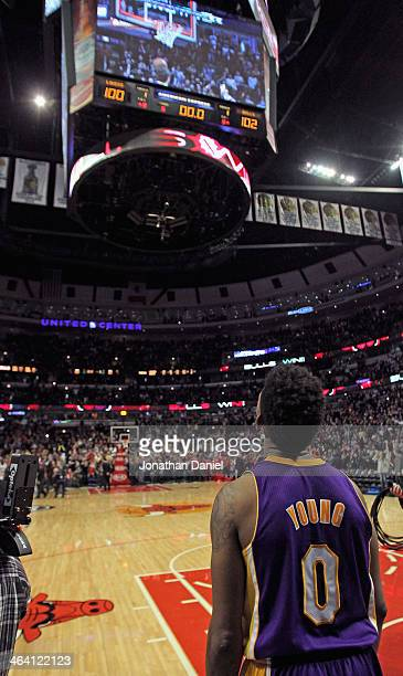 Nick Young of the Los Angeles Lakers watches the replay board to see if the Chicago Bulls won the game in overtime at the United Center on January 20...