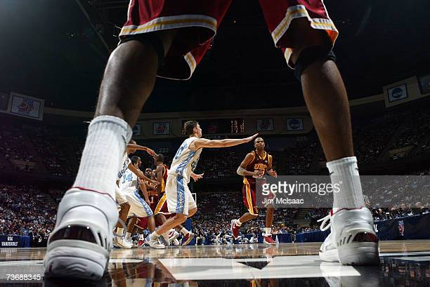 Nick Young of the University of of Southern California Trojans in bounds the ball against the University of North Carolina Tar Heels during the NCAA...