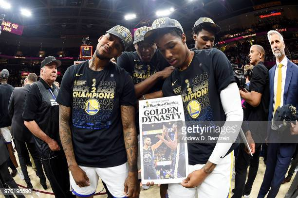 Nick Young Patrick McCaw and Kevon Looney of the Golden State Warriors celebrates after Game Four of the 2018 NBA Finals against the Cleveland...