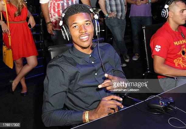 Nick Young Pro Basketball Player for the LA Lakers attends 'Call Of Duty Ghosts' Multiplayer Global Reveal at LA Live on August 14 2013 in Los...