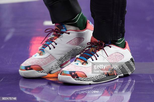 Nick Young's shoes are displayed during a basketball game between the Los Angeles Clippers and the Los Angeles Lakers at Staples Center on December...