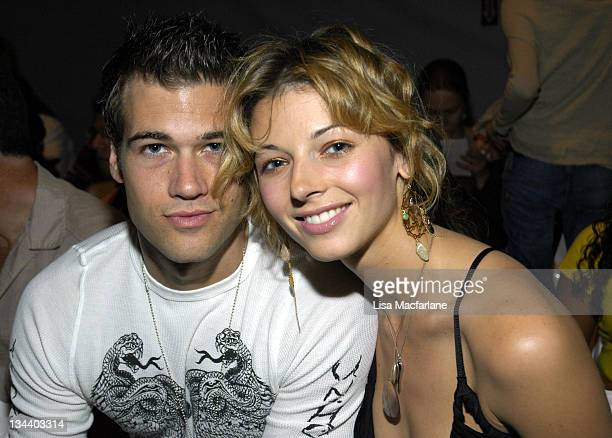 Nick Zano and Rachel Perry during Olympus Fashion Week Spring 2006 Michael Westley Front Row at Bryant Park in New York City New York United States