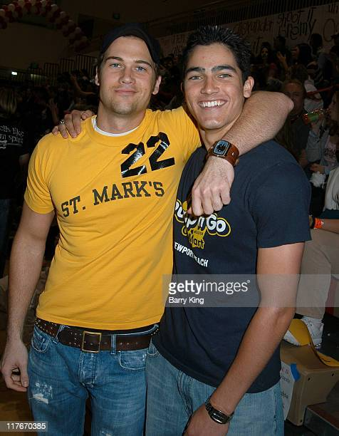 Nick Zano and Tyler Hoechlin during Hollywood Knights Basketball Game April 7 2004 at Burroughs High School in Burbank California United States