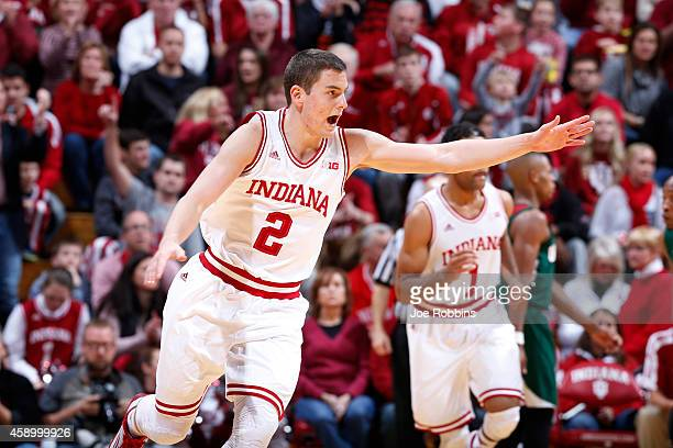 Nick Zeisloft of the Indiana Hoosiers reacts after making a threepoint shot against the Mississippi Valley State Delta Devils during the game at...
