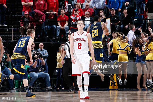 Nick Zeisloft of the Indiana Hoosiers reacts after the Michigan Wolverines hit a gamewinning shot in the quarterfinal round of the Big Ten Basketball...
