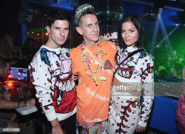 Nick Zinner and Leigh Lezark of The Misshapes poses with designer Jeremy Scott at the Jeremy Scott Spring/Summer Fashion Week After Party at Space...