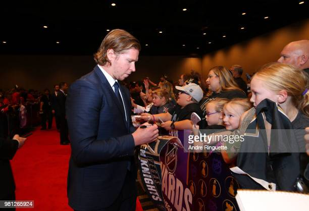 Nickals Backstrom of the Washington Capitals arrives at the 2018 NHL Awards presented by Hulu at the Hard Rock Hotel Casino on June 20 2018 in Las...