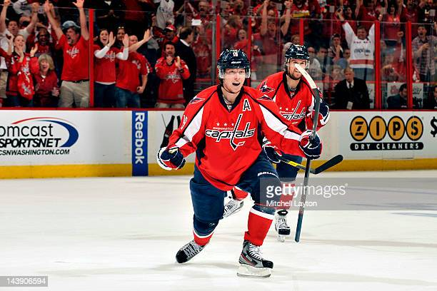Nickals Backstrom of the Washington Capitals celebrates scoring teams second goal during the second period of Game Four of the Eastern Conference...