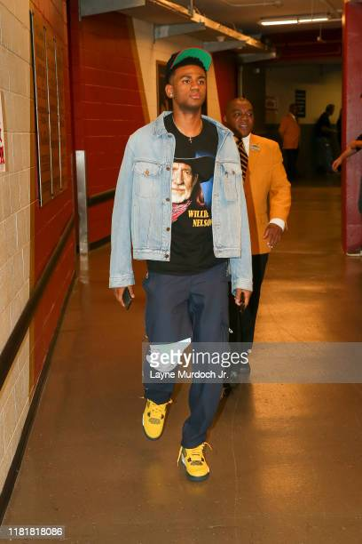Nickeil AlexanderWalker of the New Orleans Pelicans arrives prior to a game against the Houston Rockets on November 11 2019 at the Smoothie King...