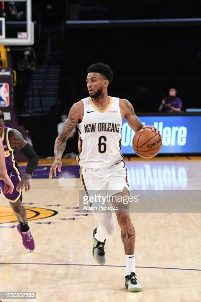 Nickeil Alexander-Walker of the New Orleans Pelicans dribbles the ball during the game against the Los Angeles Lakers on January 15, 2021 at STAPLES...