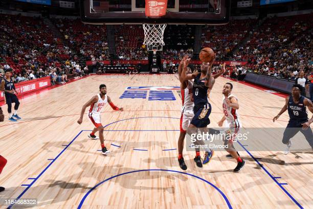 Nickeil AlexanderWalker of the New Orleans Pelicans goes to the basket against the Chicago Bulls on July 8 2019 at the Thomas Mack Center in Las...