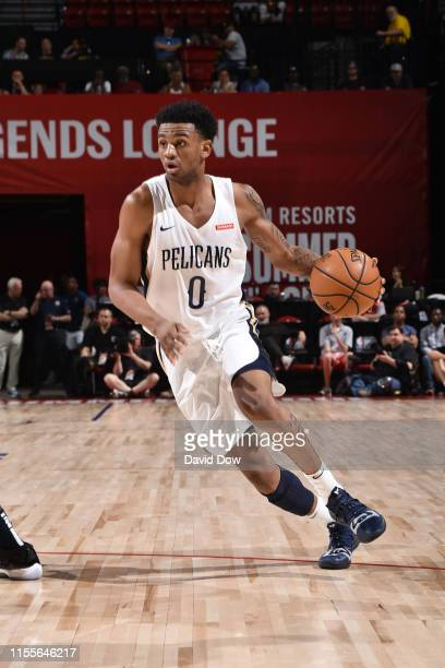 Nickeil AlexanderWalker of the New Orleans Pelicans handles the ball against the Memphis Grizzlies during the Semifinals of the Las Vegas Summer...