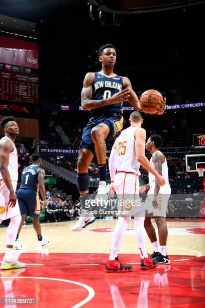 Nickeil AlexanderWalker of the New Orleans Pelicans handles the ball against the Atlanta Hawks during a preseason game on October 7 2019 at State...