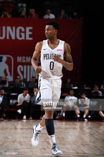 Nickeil AlexanderWalker of the New Orleans Pelicans looks on against the Cleveland Cavaliers on July 10 2019 at the Thomas Mack Center in Las Vegas...