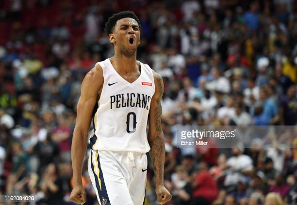 Nickeil AlexanderWalker of the New Orleans Pelicans reacts after missing a shot against the Memphis Grizzlies at the end of regulation with the score...