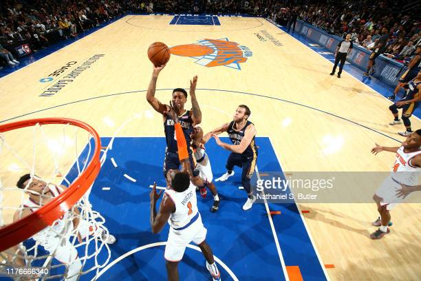 Nickeil AlexanderWalker of the New Orleans Pelicans shoots the ball against the New York Knicks during a preseason game on October 18 2019 at Madison...