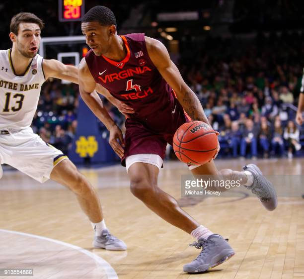 Nickeil AlexanderWalker of the Virginia Tech Hokies brings the ball up court during the game against the Notre Dame Fighting Irish at Purcell...