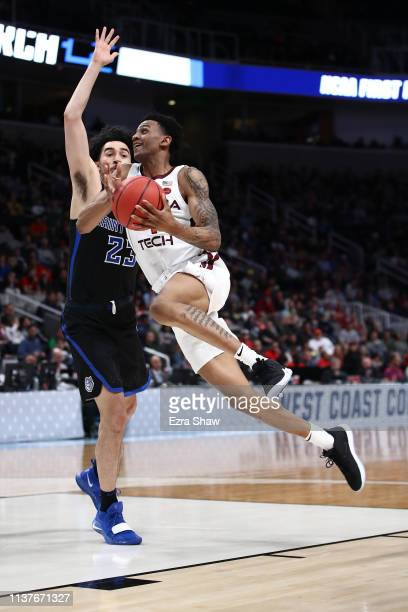 Nickeil AlexanderWalker of the Virginia Tech Hokies goes up for a shot against the Saint Louis Billikens during their game in the First Round of the...