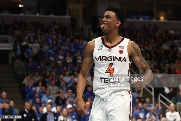 Nickeil AlexanderWalker of the Virginia Tech Hokies reacts to a play against the Saint Louis Billikens during their game in the First Round of the...