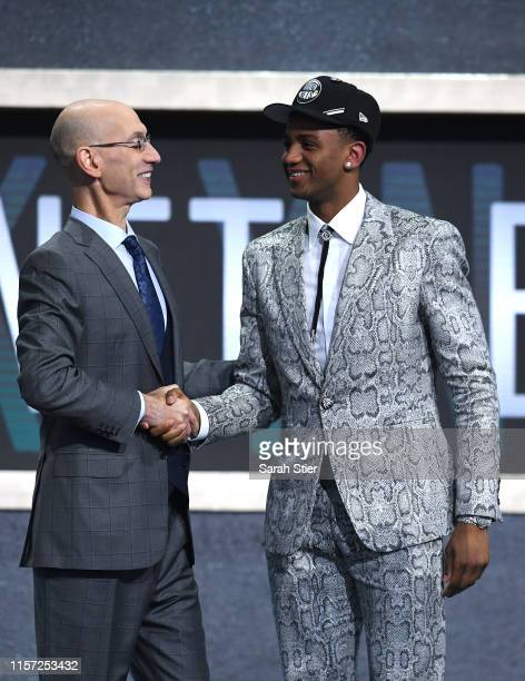 Nickeil AlexanderWalker poses with NBA Commissioner Adam Silver after being drafted with the 17th overall pick by the Brooklyn Nets during the 2019...