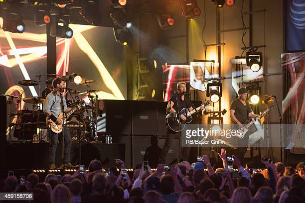 'Nickelback' is seen at 'Jimmy Kimmel Live' on November 17 2014 in Los Angeles California