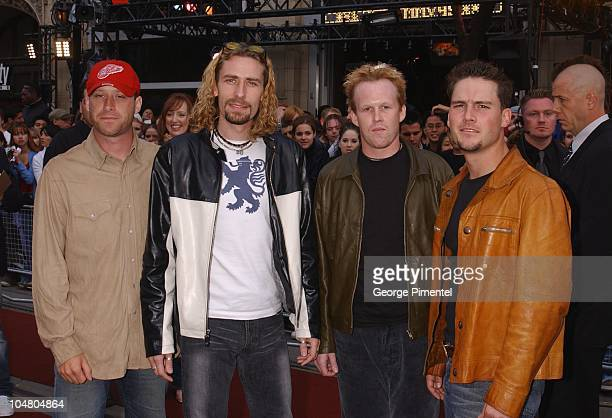 Nickelback on the red carpet at the MMV Awards during MuchMusic Video Awards 2002 Arrivals at Chum City Building in Toronto Ontario Canada