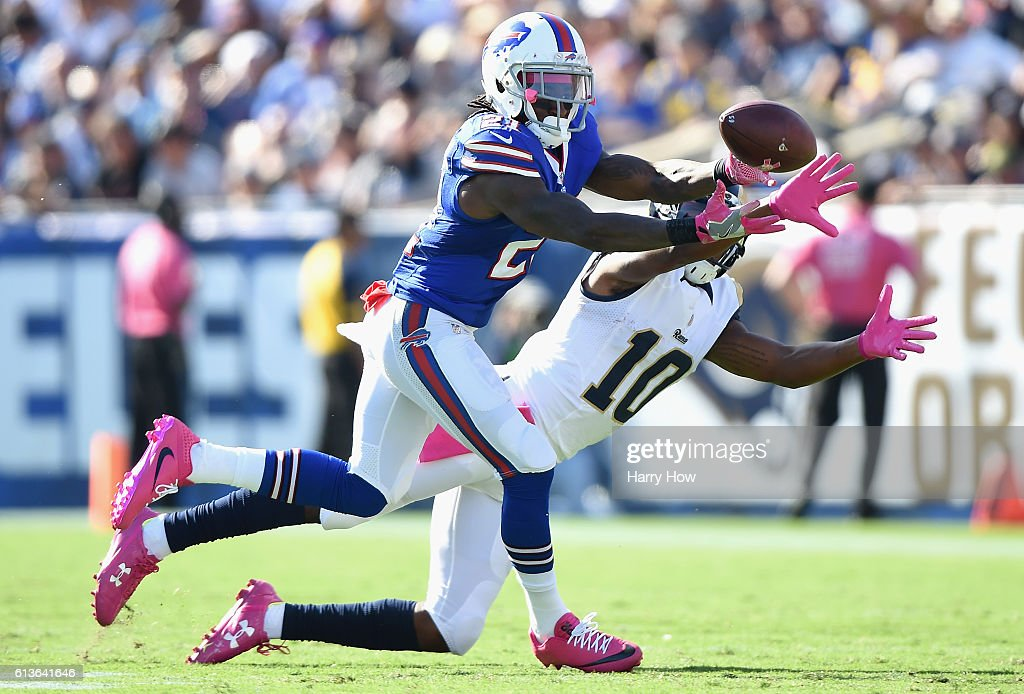 Nickell Robey #21 of the Buffalo Bills makes the interception from Pharoh Cooper #10 of the Los Angeles Rams that leads to a touchdown giving the Bills a 23-16 lead in the third quarter of the game at the Los Angeles Memorial Coliseum on October 9, 2016 in Los Angeles, California.