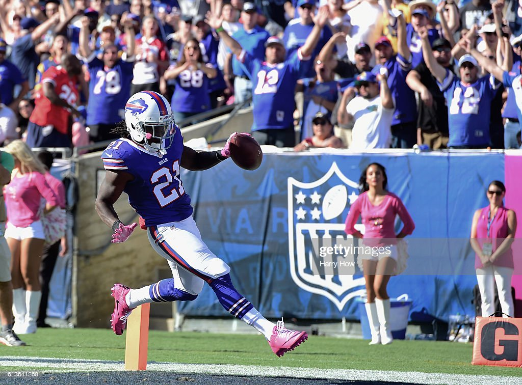 Nickell Robey #21 of the Buffalo Bills scores a touchdown after an interception against the Los Angeles Rams giving them a 23-16 lead in the third quarter of the game at the Los Angeles Memorial Coliseum on October 9, 2016 in Los Angeles, California.